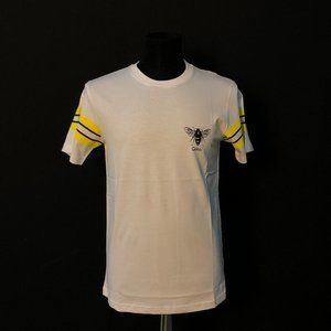 Gucci Men Arm Yellow Line Bee Logo White T-Shirt